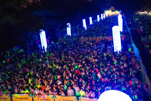 Crowd shot at the starting line of Electric Run® Malaysia 2015