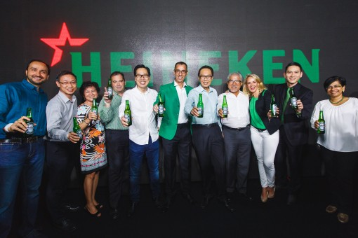 HMB Launch - Hans Essaadi, Managing Director of Heineken Malaysia Berhad joined by the Board of Directors and Management Team on stage at the launch of Heineken Malaysia Berhad. - Photo by © All Is Amazing
